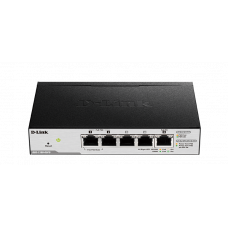 D-Link DGS-1100-05PD/U, L2 Smart Switch with 4 10/100/1000Base-T ports and 1 10/100/1000Base-T PD port(2 PoE ports 802.3af (15,4 W), PoE Budget 18W from 802.3at / 8W from 802.3af).2K Mac address, 802