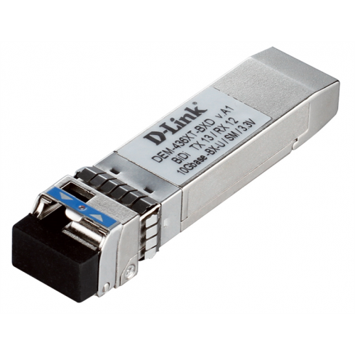 D-Link 436XT-BXD/40KM/A1A, WDM SFP+ Transceiver with 1 10GBase-LR port.Up to 20km, single-mode Fiber, Simplex LC connector, Transmitting and Receiving wavelength: TX-1330nm,RX-1270nm, 3.3V power.