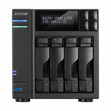 ASUSTOR AS6404T 4-Bay NAS/Media player/Intel Celeron J3455 1.5GHz, up to 2.3 GHz(Quad-Core), 8GB SO-DIMM DDR3L, noHDD(HDD,SSD),/2x1GbE(LAN)/3xUSB3.0,HDMI/4ip camera license ; 90IX0121-BW3S10
