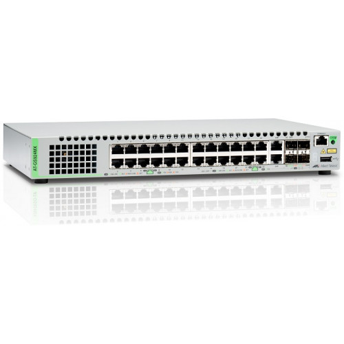 Allied Telesis Gigabit Ethernet Managed switch with 24 ports 10/100/1000T Mbps, 2 SFP/Copper combo ports, 2 SFP/SFP+ uplink slots, single fixed AC power supply