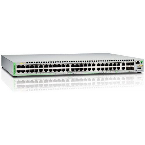 Allied Telesis Gigabit Ethernet Managed switch with 48  10/100/1000T POE ports, 2 SFP/Copper combo ports, 2 SFP/SFP+ uplink slots, single fixed AC power supply
