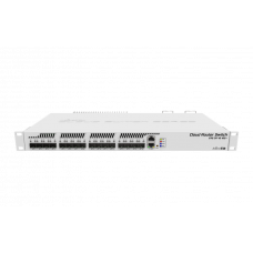 MikroTik Cloud Router Switch 317-1G-16S+RM with 800MHz CPU, 1GB RAM, 1xGigabit LAN, 16xSFP+ cages, RouterOS L6 or SwitchOS (dual boot), passive cooling 1U rackmount enclosure, Dual redundant PSU