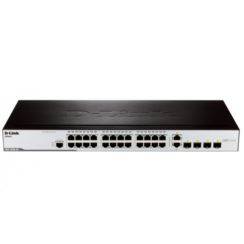 D-Link DES-3200-28, 24-Port 10/100Mbps + 2 Combo 1000BASE-T/SFP + 2 SFP L2 Management Switch