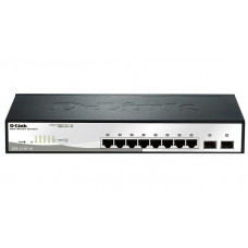 D-Link DGS-1210-10/F1A, L2 Smart Switch with  8 10/100/1000Base-T ports and 2 1000Base-X SFP ports.16K Mac address, 802.3x Flow Control, 4K of 802.1Q VLAN, 802.1p Priority Queues, ACL, IGMP Snooping,