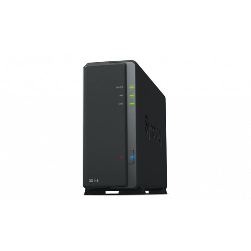 Synology DS118 DC1,4GhzCPU/1Gb/upto 1HDD SATA(3,5'')/2xUSB3.0/1GigEth/iSCSI/2xIPcam(upto 15)/1xPS repl DS116