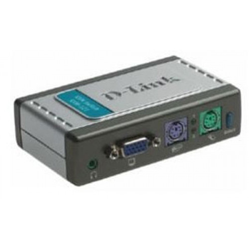 D-Link KVM-121, 2-port KVM Switch with build in cables, AT&PS/2, Audio Support