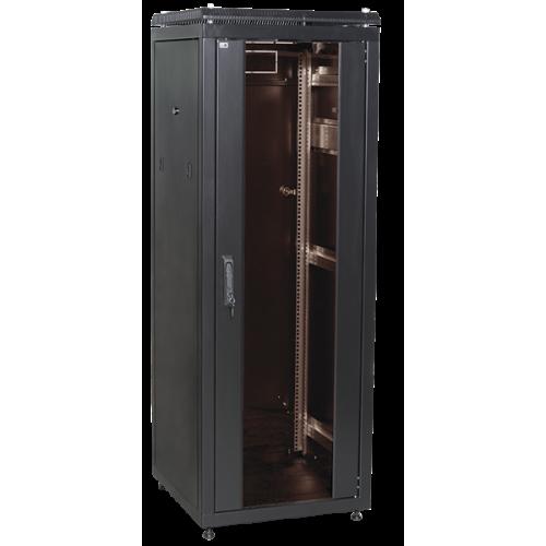 """ITK Шкаф сетевой 19"""" LINEA N 33U 600х800 мм стеклянная передняя дверь черный - LN05-33U68-G"""