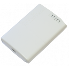 MikroTik PowerBOX with 650MHz CPU, 64MB RAM, 5xLAN (four with PoE out), RouterOS L4, outdoor case, PSU, PoE, mounting set