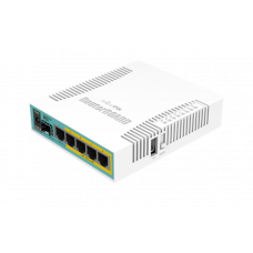 MikroTik hEX PoE with 800MHz CPU, 128MB RAM, 5x Gigabit LAN (four with PoE out), SFP, USB, RouterOS L4, plastic case and PSU