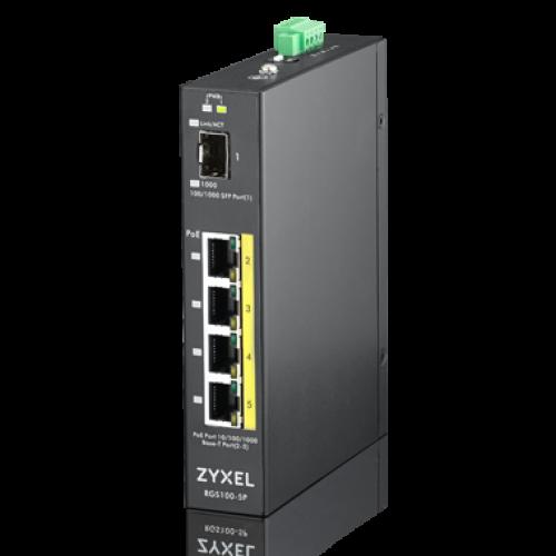 Zyxel RGS100-5P, 5  Port unmanaged PoE Switch 4xGE PoE+, 1xSFP, 120 Watt PoE, DIN Rail, IP30, 12-58V DC.